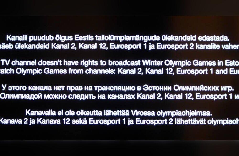 Kelle kätetöö? Soome YLE2 kanali olümpiaülekandeid enam Eesti teleritest ei näe