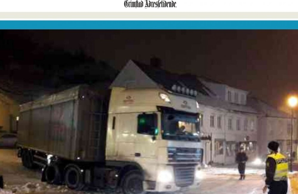 В Норвегии пьяный водитель на грузовике с эстонскими номерами пытался скрыться от полиции