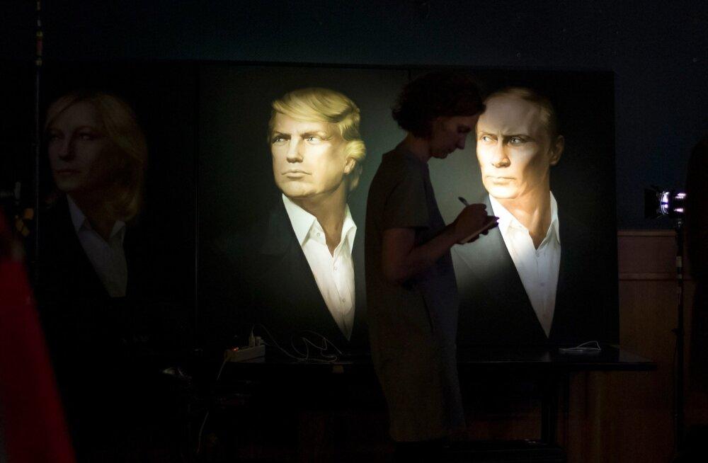 Ühes Moskva pubis on kohalik Vene kunstnik suutnud Trumpi ja Putini juba peaaegu ühte nägu maalida.