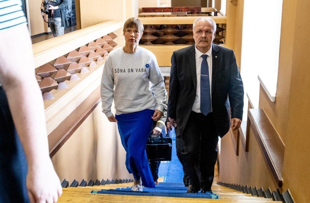 President Kersti Kaljulaid ja riigikogu esimees Henn Põlluaas valitsusliikmete ametisse vannutamise eel