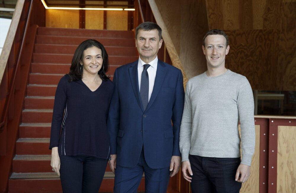 Kuulsustega pildil: Andrus Ansip kohtus Facebooki ja Google'i tippjuhtidega