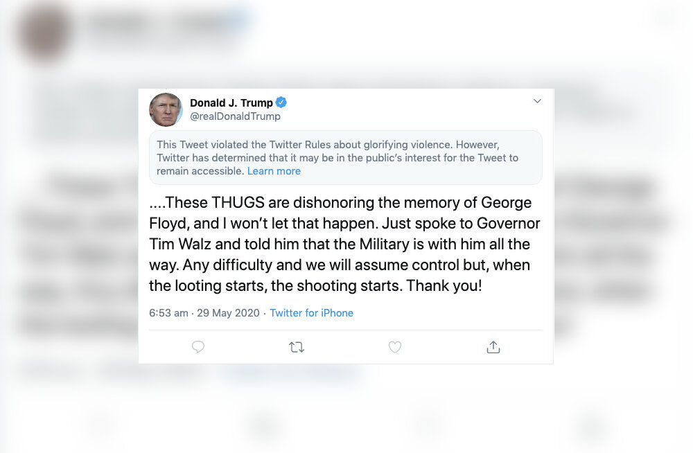 "Twitter varjas Donald Trumpi säutsu ""vägivalla ülistamise"" tõttu"