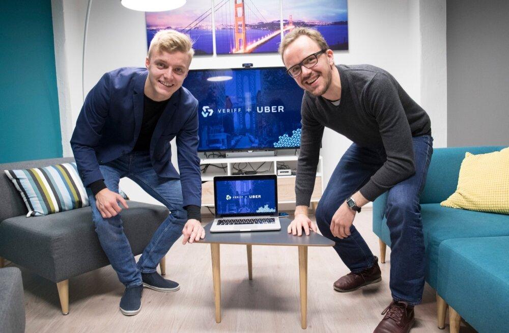 Veriff ja Uber. Uberi Eesti tegevjuht Enn Metsar ja ettevõtte Veriff asutaja Kaarel Kotkas