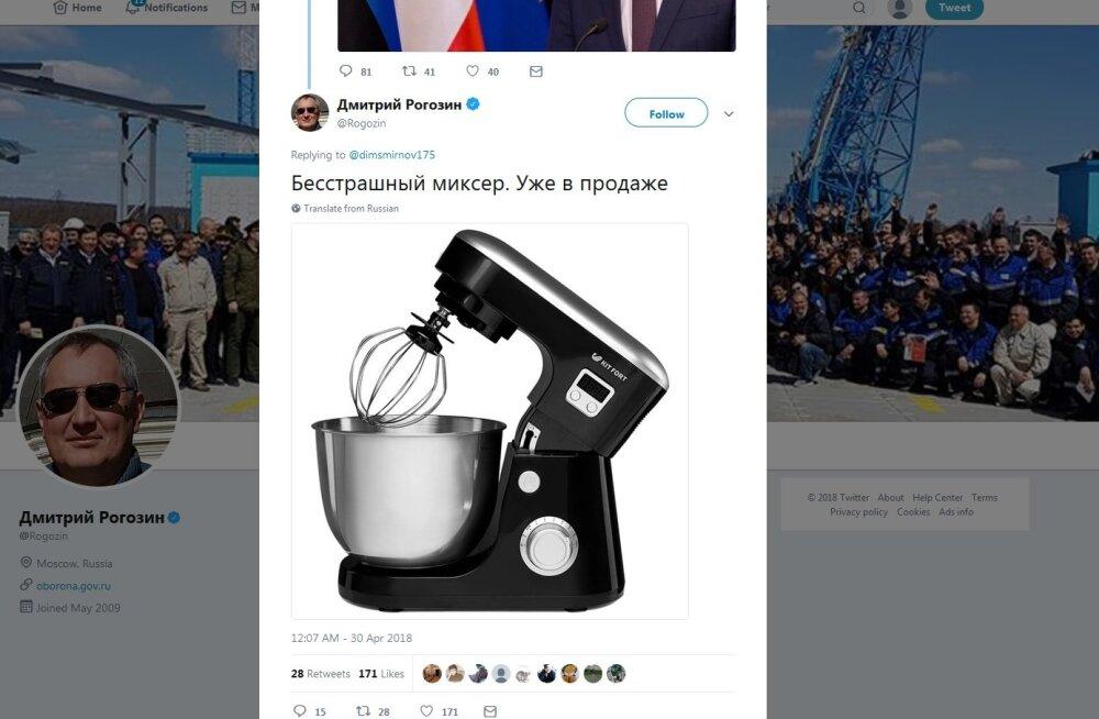 """Asepeaminister Rogozin avaldas pildi kartmatust Mikserist ja Vene """"eksperdid"""" panid talle diagnoosi"""