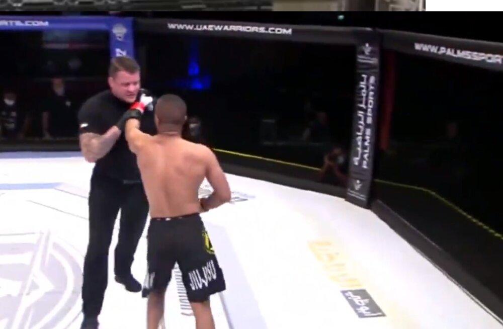 VIDEO | MMA võitleja hakkas peale vastase alistamist ka kohtunikuga arveid klaarima
