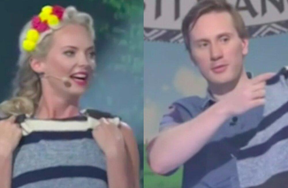 """Napp kleit hajutas tähelepanu: """"Eesti mängu"""" võistleja kinkis saate assistendile villase vesti"""