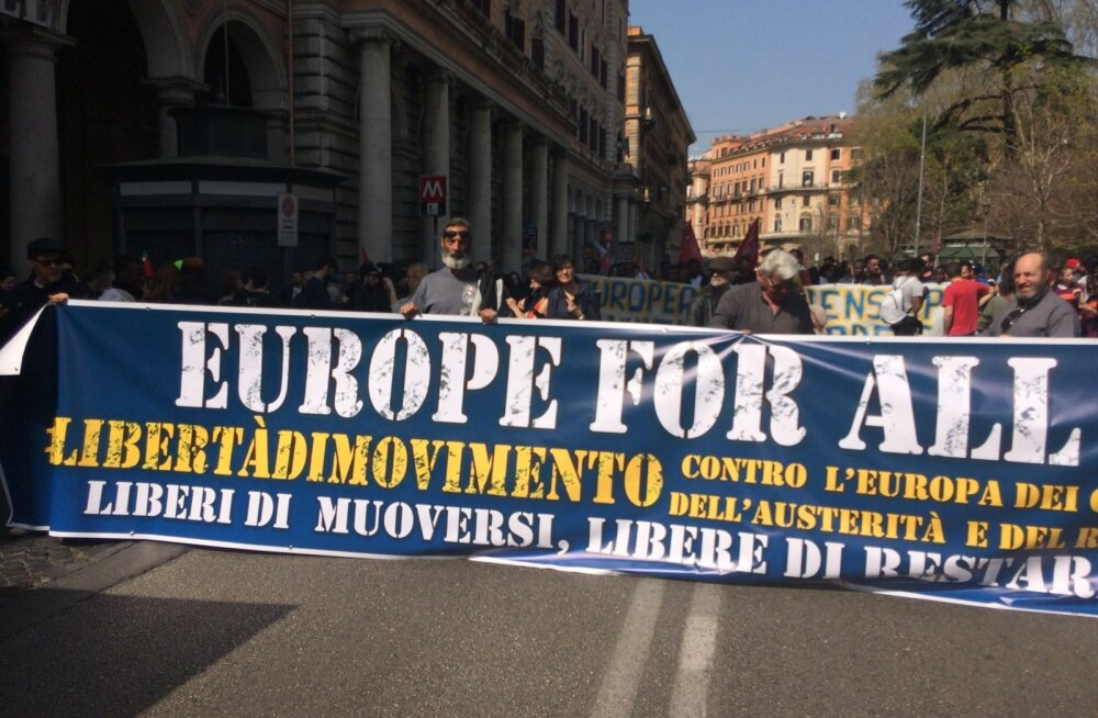 Rooma, radikaalide marss, demonstratsioon