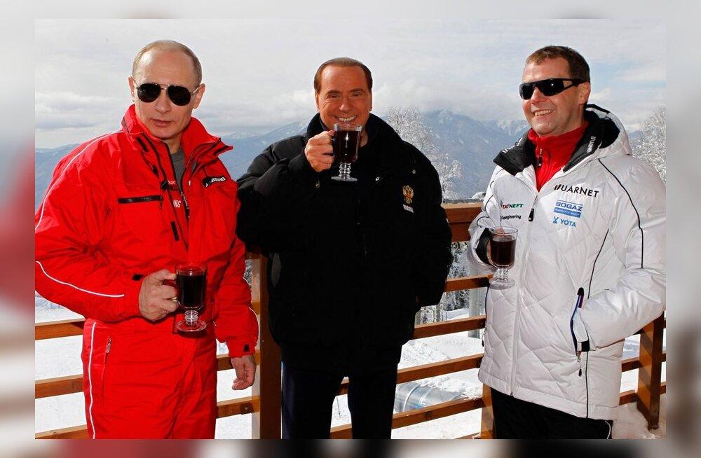 FOTOD: Putin, Medvedev ja Berlusconi nautisid Sotšis talverõõme