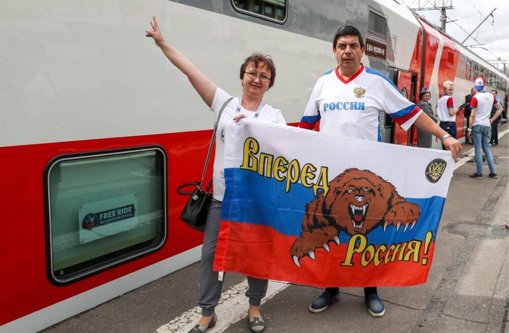 Jalgpallifännid Venemaa Raudteede rongiga Moskvasse suundumas.