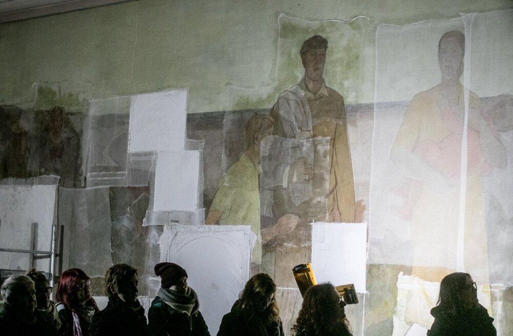 ФОТО: В ходе подготовки к сносу бывшего кинотеатра Раху в Таллинне спасена знаменитая фреска