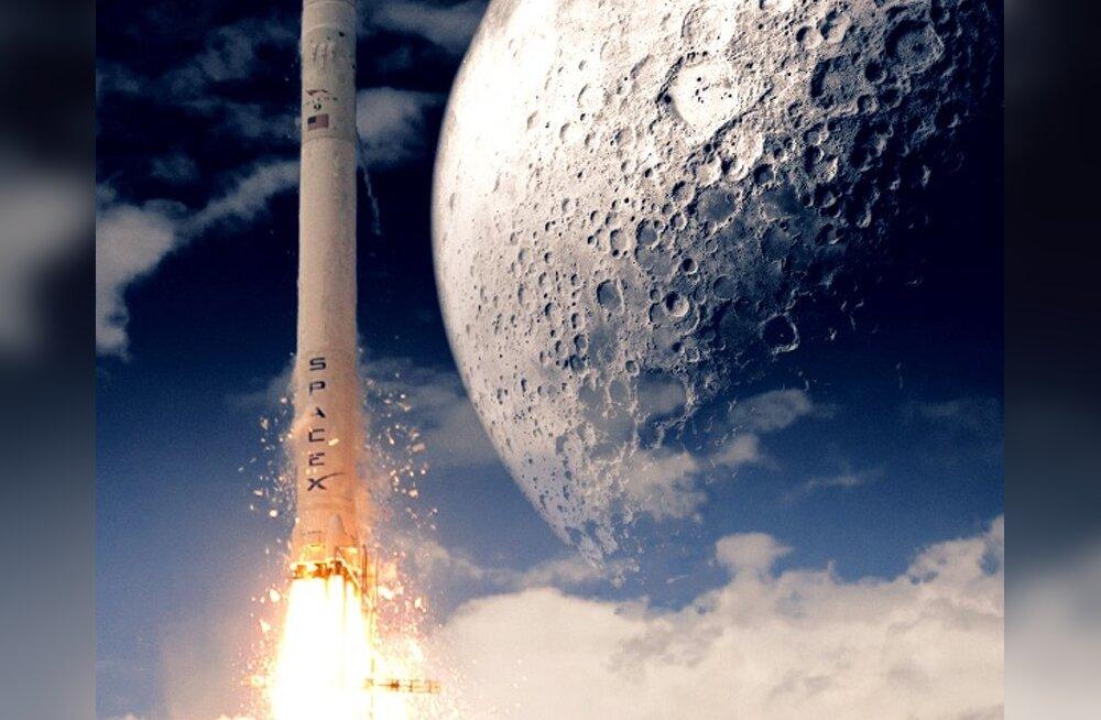 SpaceX Falcon 9 rakett Kuu poole suundumas