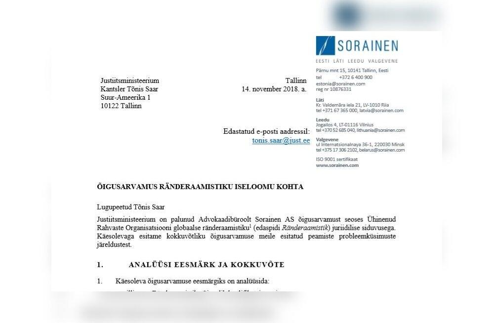 TÄISMAHUS | Loe advokaadibüroo Sorainen hinnangut ÜRO ränderaamistikule
