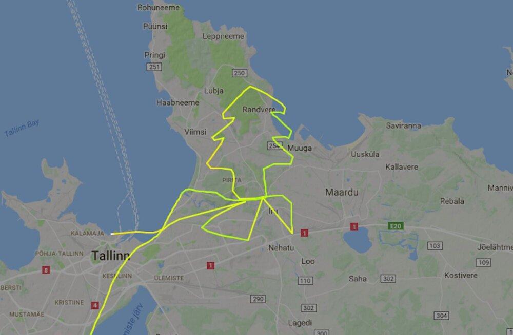 Vigurvändast helikopteripiloot joonistas lennuteekonnaga Viimsi kohale jõulukuuse