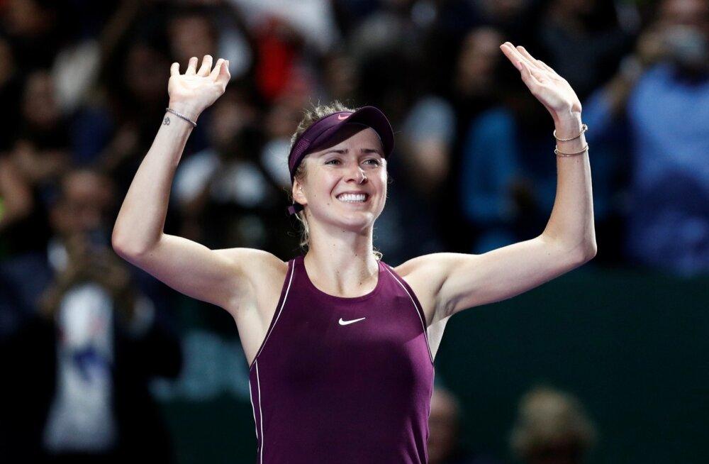 Elina Svitolina võitu tähistamas.