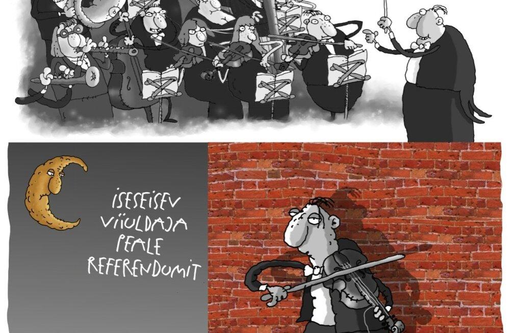 Karikatuur   Orkester enne ja pärast referendumit