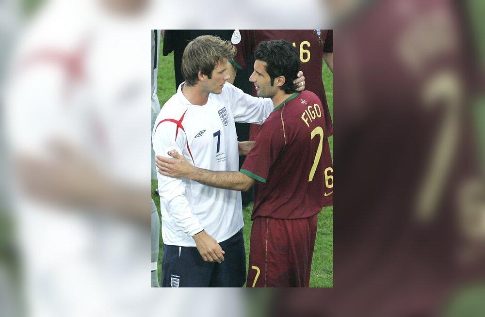 David Beckham ja Luis Figo peale penaltiseeriat, mis viis Portugali poolfinaali