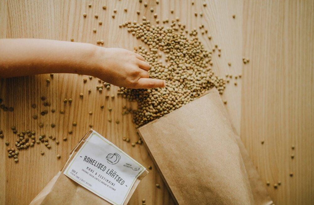 Pärnumaal kasvatatud Nurgaaniku kaubamärki kandvad rohelised läätsed pakuvad konkurentsi seni müügil olnud importtoodetele.
