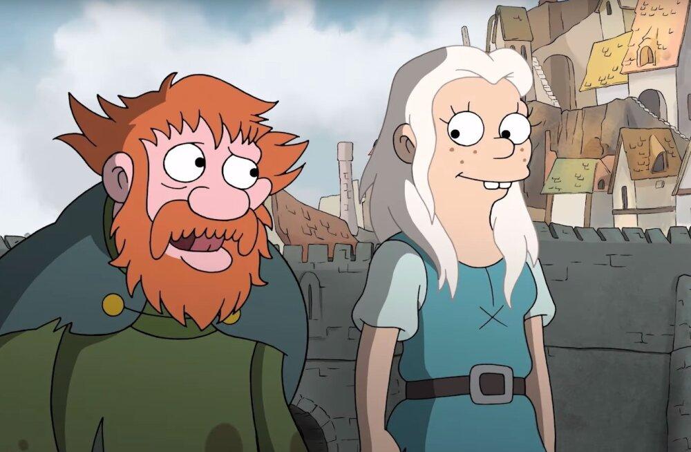"""Nädalavahetuse filmi- ja seriaalisoovitused: """"Simpsonite"""" looja uus animatsioon """"Disenchantment"""" ja rabav krimiseriaal """"Criminal"""""""