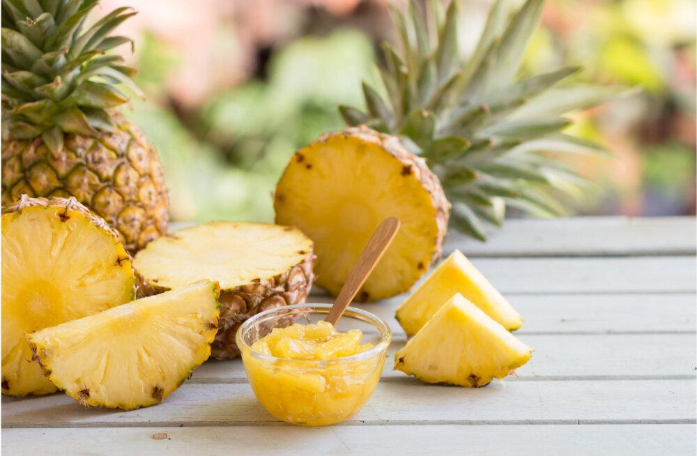 Värskes ananassis on rohkesti organismile kasulikke aineid.