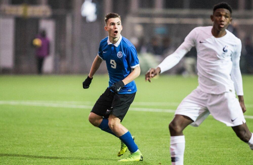 Eesti U17 jalgpallikoondis kohtub Prantsusmaaga