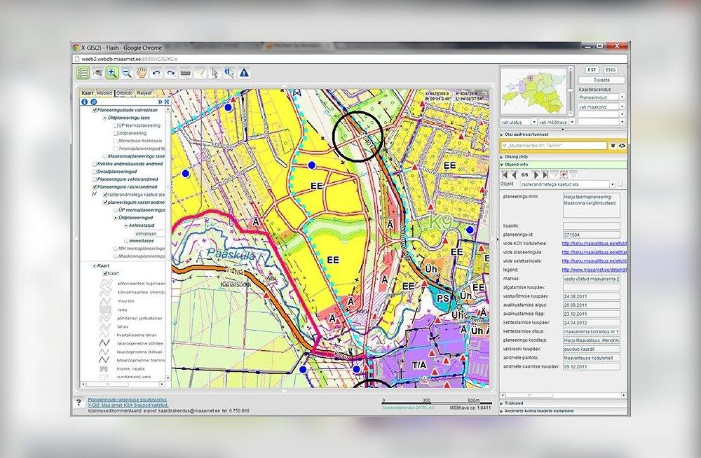Maa-ameti värske kaardirakendus annab teavet planeeringute kohta