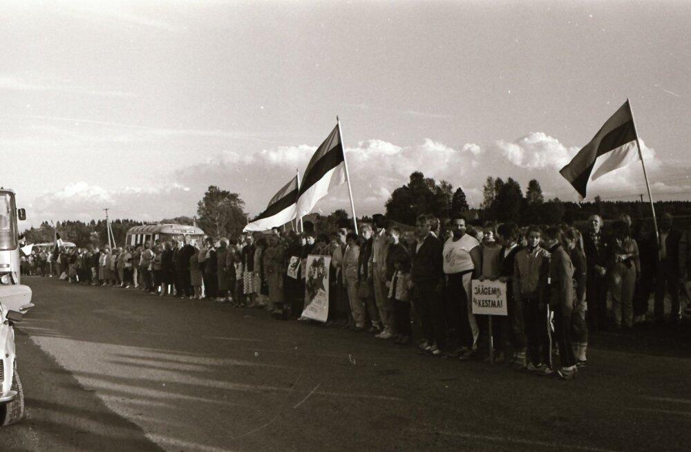 Balti ketis lehvisid uhkelt sinimustvalged. 24. veebruaril lehvis Eesti rahvuslipp uhkelt ka Pika Hermanni tornis.
