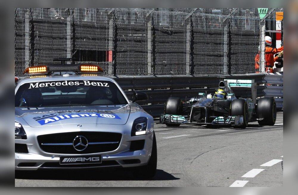 FOTOD: Punased lipud, leekides masinad, turvaauto. Ülipõneva Monaco GP võitis Nico Rosberg!