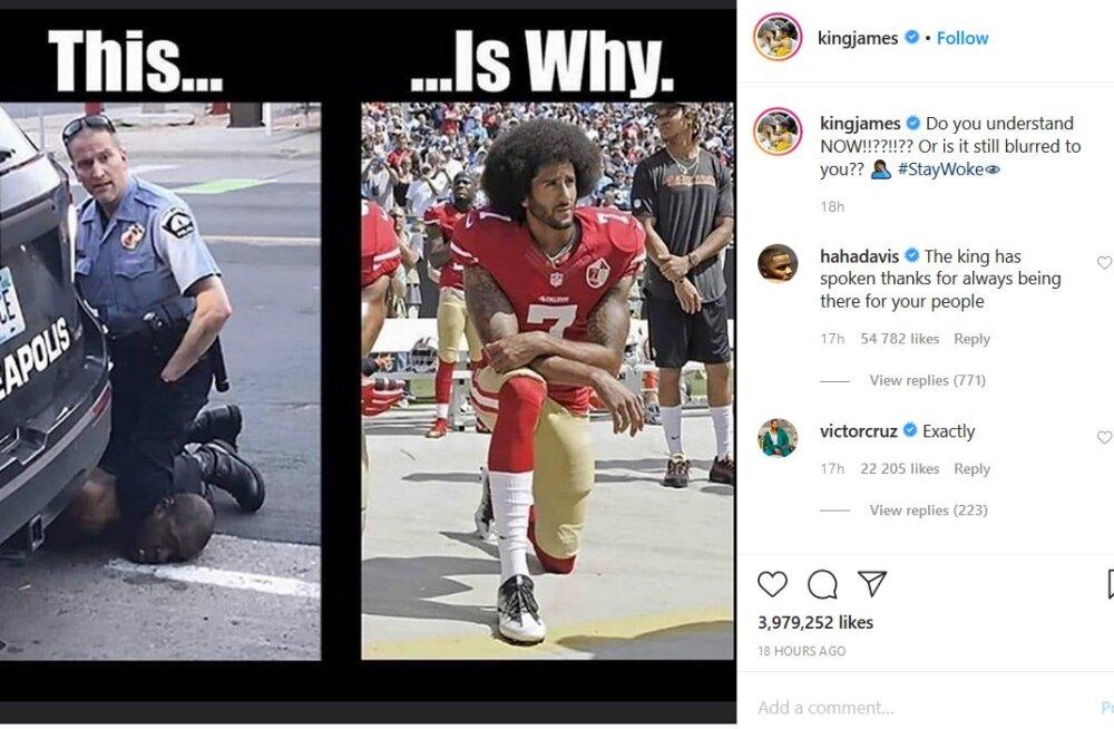 LeBron James ja mitmed teised USA sporditähed astusid politsei poolt tapetud mustanahalise mehe eest välja