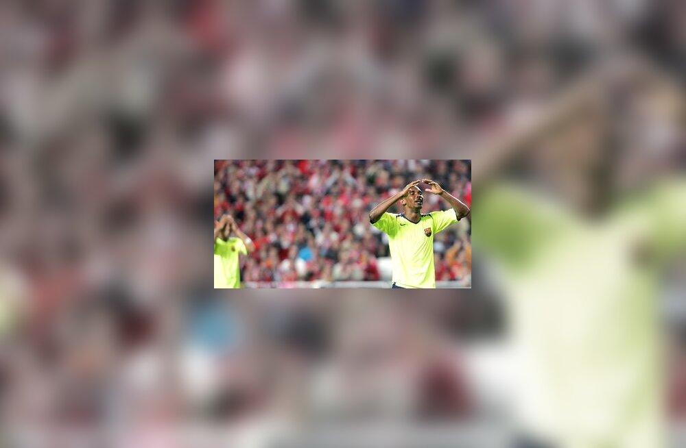 Samuel Eto'o (Barcelona) reaktsioon peale luhtunud võimalust Benfica vastu