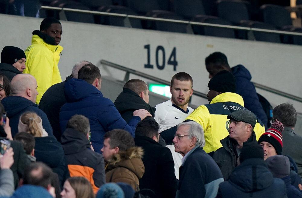 VIDEO   Tottenham langes penaltiseeria järel üllatuslikult konkurentsist, Inglismaa koondislane sattus fänniga rüselusse