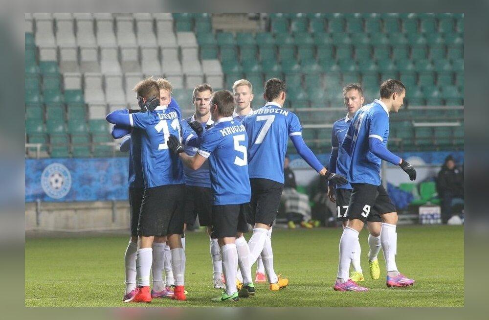 FOTOD: Eesti jalgpallikoondis võitis Henri Anieri väravast Jordaaniat