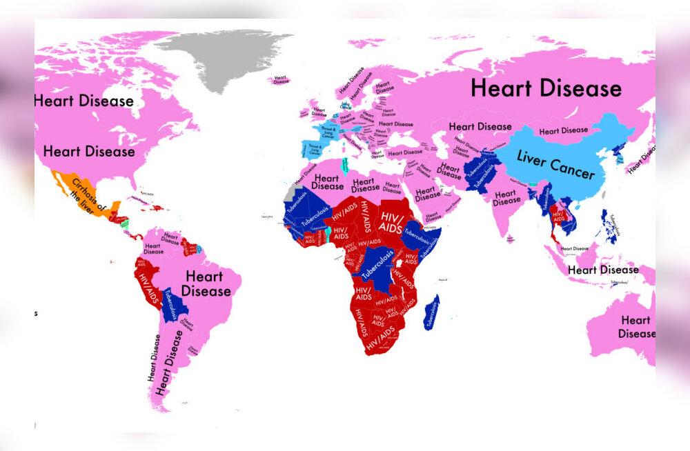 Hirmutav kaart – võrdle riigiti, millised haigused kõige rohkem inimesi tapavad