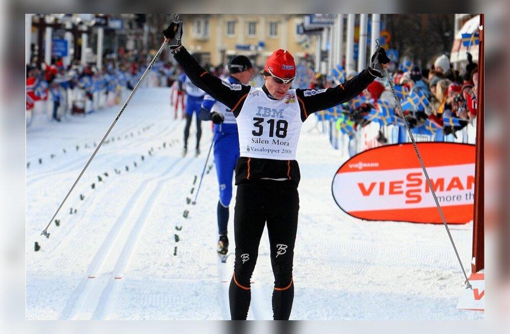 Meelis Aasmäe tegevsportlasena Vasaloppeti finišis