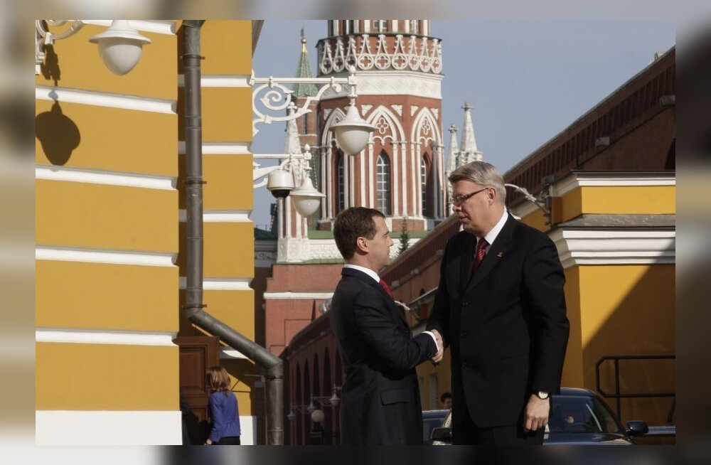 May 9, 2010. From left: Russian President Dmitry Medvedev meeting with President of Latvia Valdis Zatlers. The latter will take part in the celebrations of the 65th anniversary of Victory in the Great Patriotic War of 1941-1945. The Kremlin.