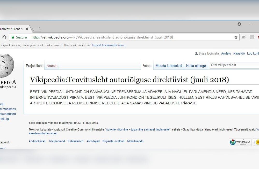 Vikipeedia meeskonna sisekisma: kodulehele ilmus sõim, kus juhtkonda nimetatakse tsenseerijateks