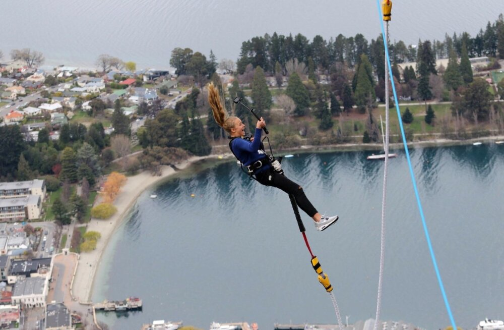 Kelly Sildaru Uus-Meremaal benji-hüpet proovimas.