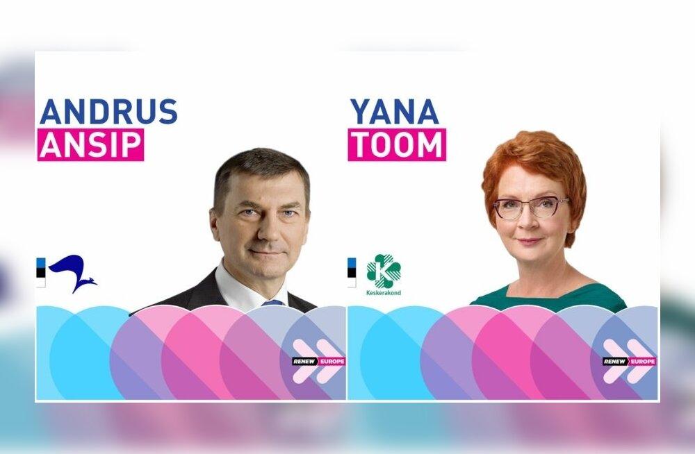 Andrus Ansipi ja Yana Toomi reklaamid ALDE Facebooki lehel