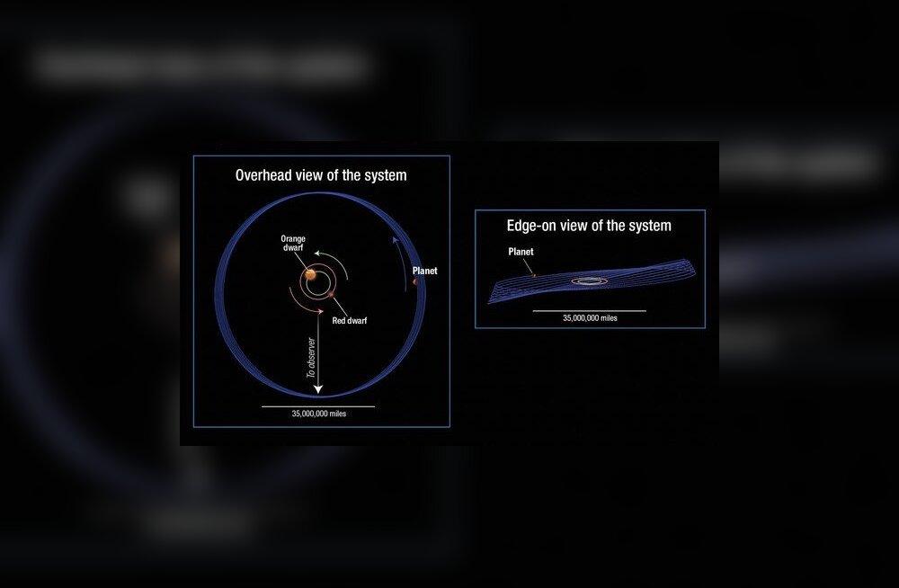 Kepler-413 süsteem kunstniku nägemuses (Foto: A. Feild/ESA/NASA)