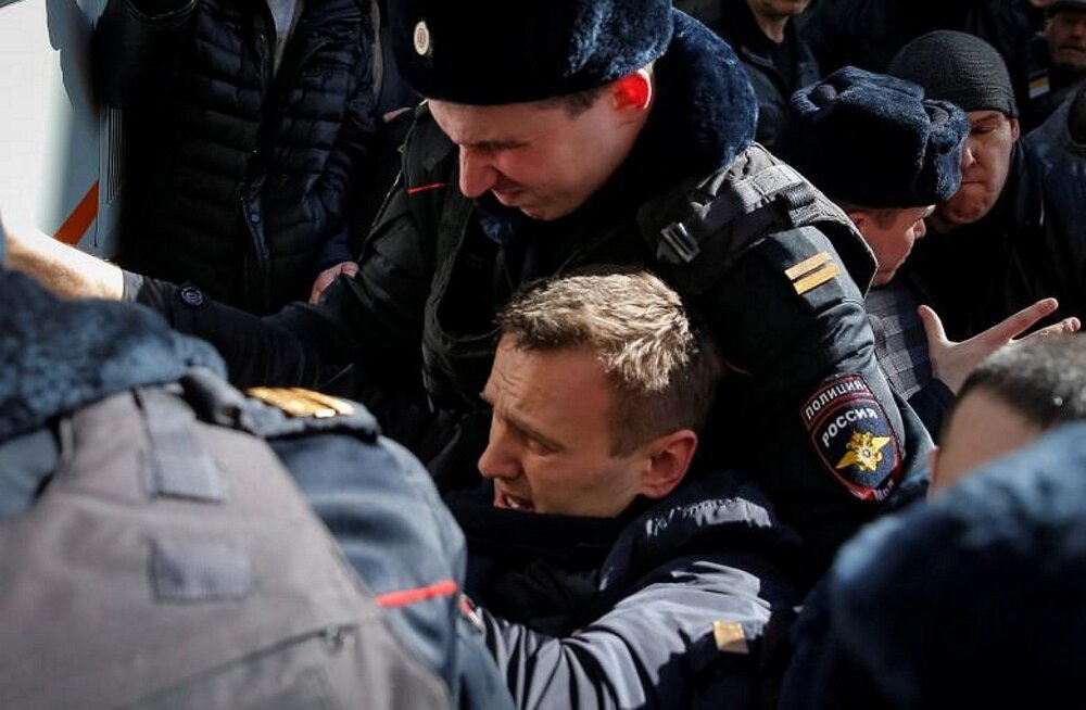 Vene opositsiooniliider Aleksei Navalnõi peeti meeleavaldusel kinni