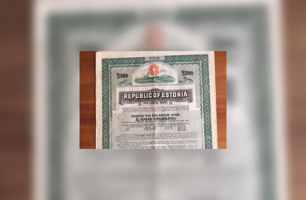 Müügile tuli haruldane Eesti Vabariigi võlakiri