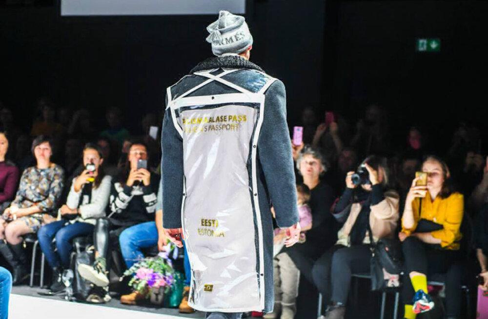 Политика на модном показе в Нарве: серый паспорт во всю спину. Вы бы надели такое пальто?