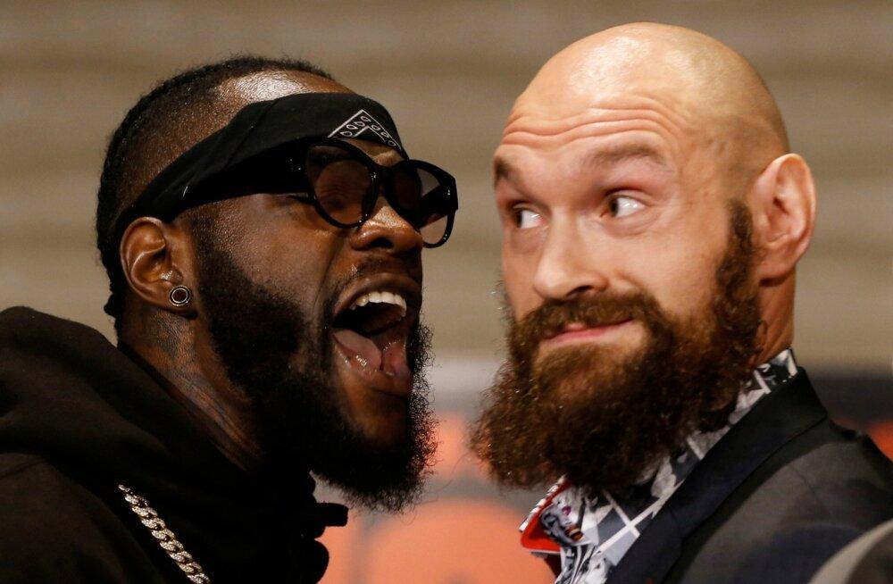 Matšieelsel pressiüritusel Los Angeleses puhkes kergemat sorti kähmlus, kui Wilderi (vasakul) taustajõud Fury provokatsioonile vastasid.
