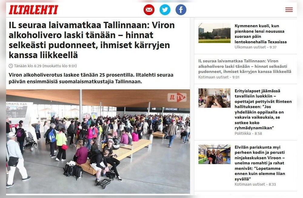 """""""Цены явно упали, люди берут с собой в Таллинн тачки"""". Финские издания пристально следят за снижением алкогольных акцизов в Эстонии"""