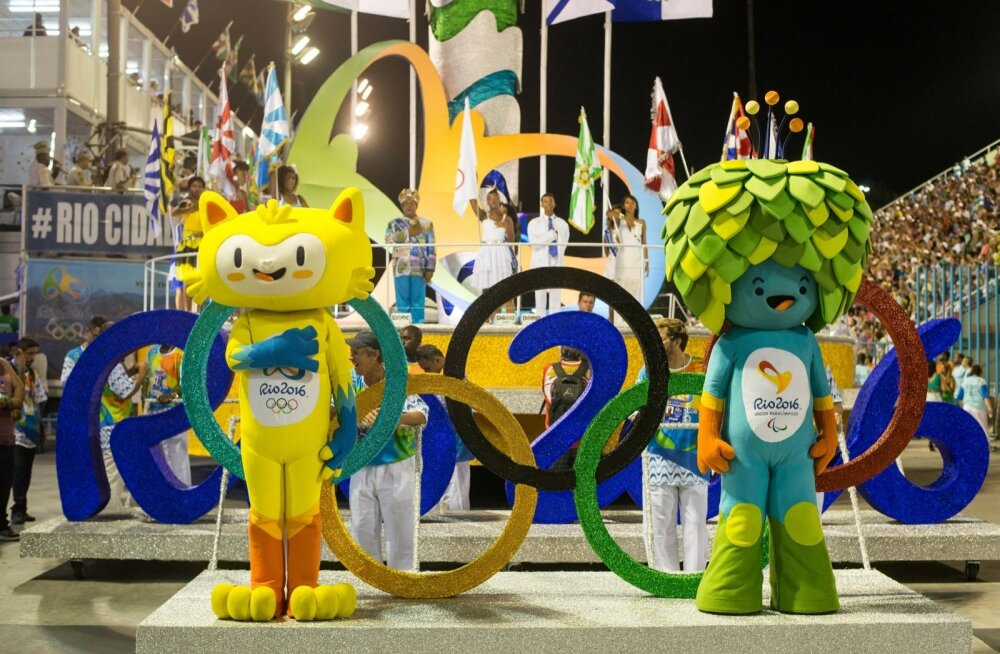 Rio olümpiamängude maskott Vinicius (vasakul) ja paraolümpiamängude maskott Tom (paremal).