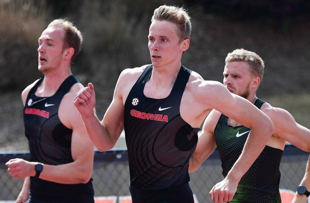 Karel Tilga (vasakul) ja Johannes Erm (keskel) alustasid hooaega rekordiga. Karl Robert Saluri (paremal) võistleb sel nädalal Tallinnas.