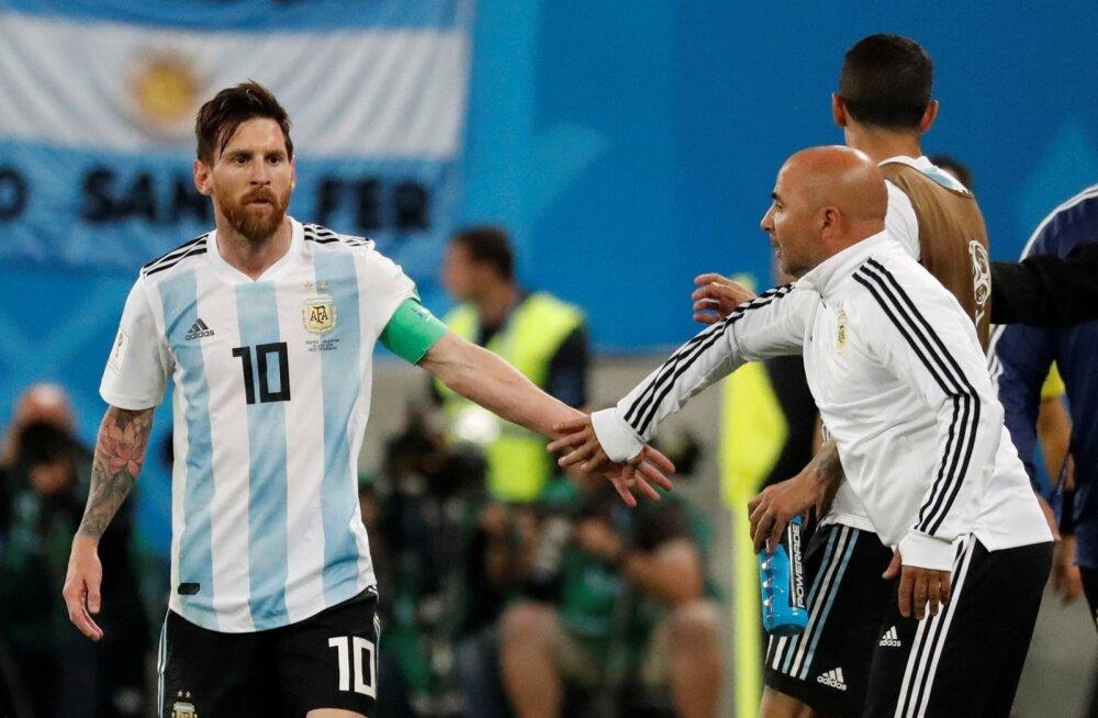 Lionel Messi ja Jorge Sampaoli läbisaamine ei ole MM-il olnud just parim.