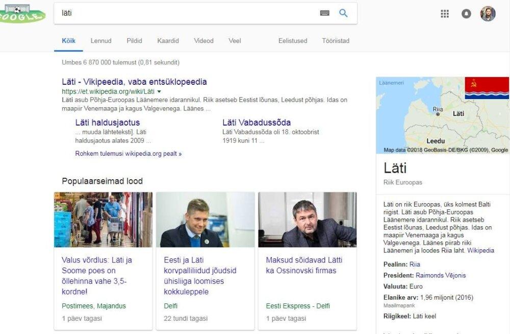 KUVATÕMMIS | NSVL elab edasi, aga Lätis? Kõikvõimas Google igatahes nii arvab