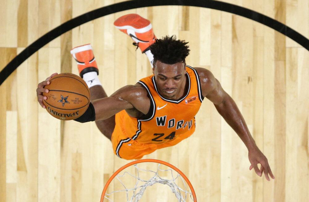 VIDEO   NBA noorte tähtede mängus purustasid maailma staarid ameeriklased, USA ässad panid mängus käima uhke pealtpanekuvõistluse