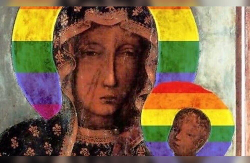 Poolas vahistati naine Neitsi Maarja vikerkaarevärvilise aupaistega kujutamise eest