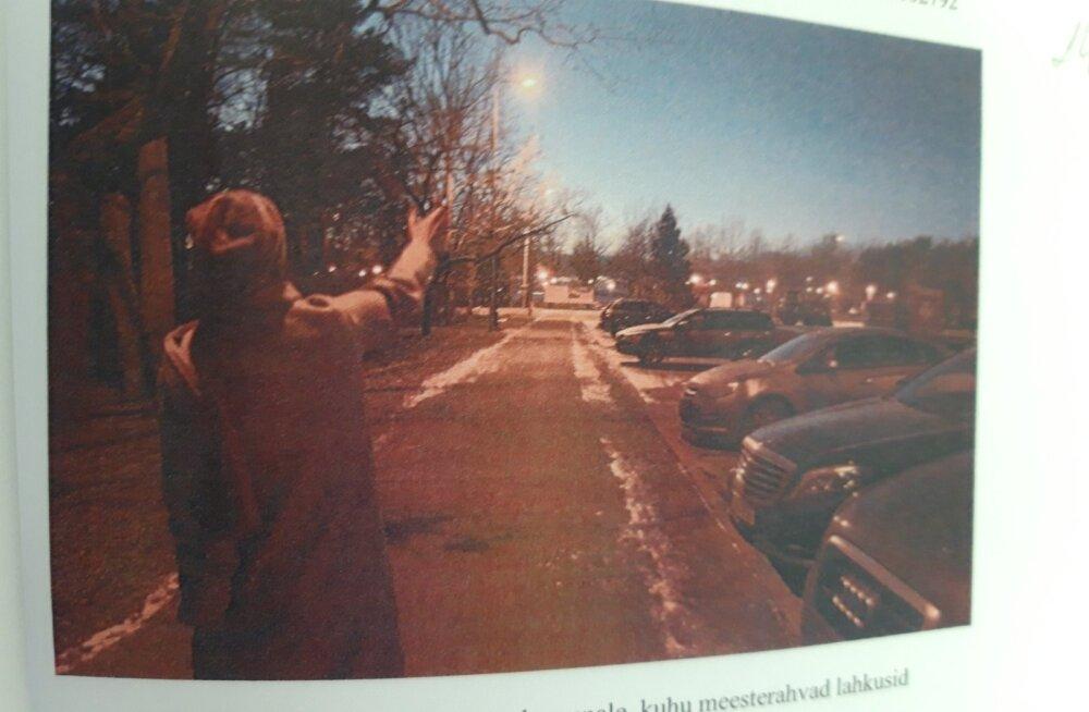 Mary Kross näitab politseile, kuhu teda väidetavalt rünnanud mehed suundusid